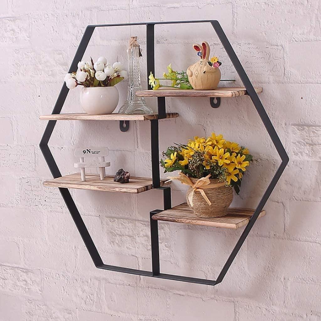 WGEMXC Shelf, Wall Frame Float Frame Hex Frame Home Adornment Flower Stand Iron Frame Adornment Frame Float Box Frame Wall Mounted Shelves for Living Room