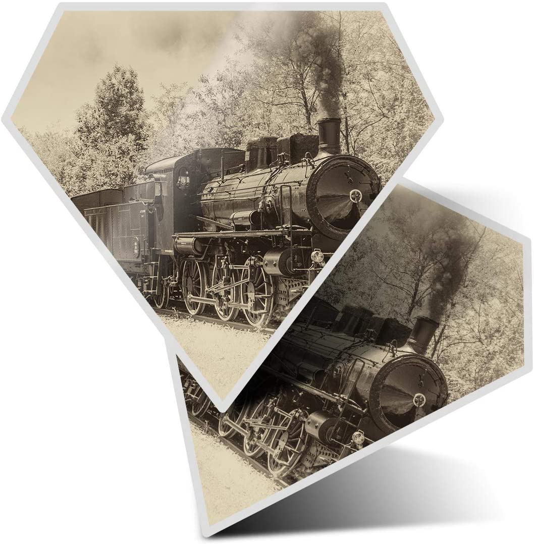 Awesome 2 x Diamond Stickers 7.5 cm - American Steam Train Sepia Fun Decals for Laptops,Tablets,Luggage,Scrap Booking,Fridges,Cool Gift #2181
