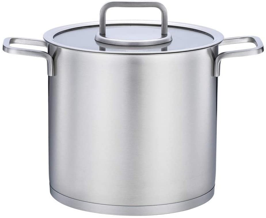 ZXYY Induction Cookware Stew Pot Casserole - Three-Layer 304 Stainless Steel Bottom Suitable for All Heat Sources Diameter 22cm (Color: A Size: Diameter 22cm)