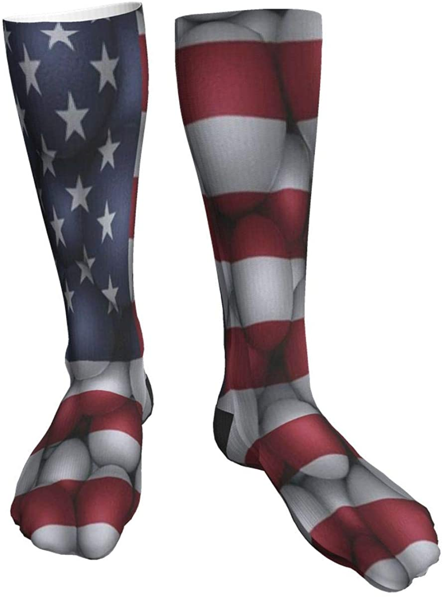 Mens Womens Crew Socks American Flag Brick Wall Novelty Mid Calf Dress Sport Socks Man