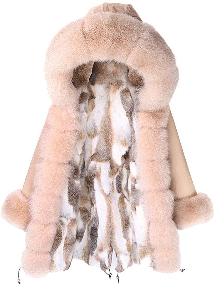 Waterproof Winter Coat Women Parka Long Plus Size Real Rabbit Fur Lined Jacket Fashion Female Outerwear Streetwear Khaki CH Beige XL