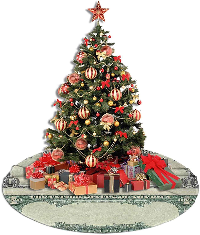 LCGGDB Money Christmas&Halloween Tree Skirt,One Dollar Bill Buck Design American Federal Reserve Note Pattern Wealth Symbol Polar Fleece Tree Skirt for Party Decorations,48