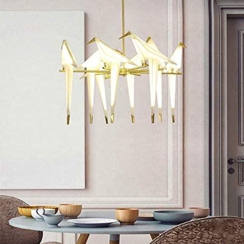 KANEED 48W Warm White Light Modern Thousand Paper Cranes Acrylic Creative Restaurant Living Room Bar Bedroom Wall Lamp Bird Chandelier, 8 Heads Ceiling Lamp