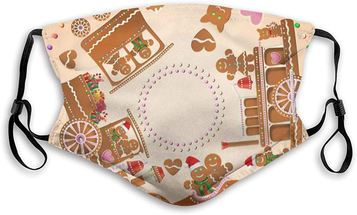 Gingerbread Steam Train Steamboat and Airplane Reusable Protective with Filter Anti-Dust, Unisex Adjustable Fashionable Face Medium