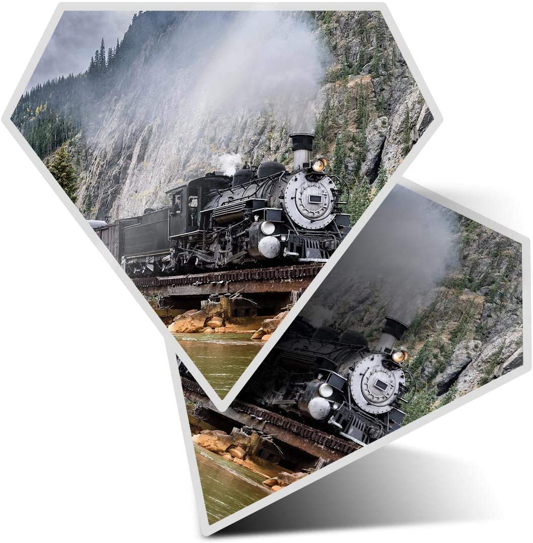 Awesome 2 x Diamond Stickers 7.5 cm - American Steam Train Bridge Fun Decals for Laptops,Tablets,Luggage,Scrap Booking,Fridges,Cool Gift #2180
