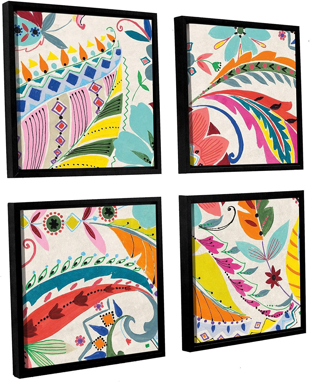 ArtWall Wild Apple's Boho Paisley I 4 Piece Floater Framed Canvas Square Set, 36