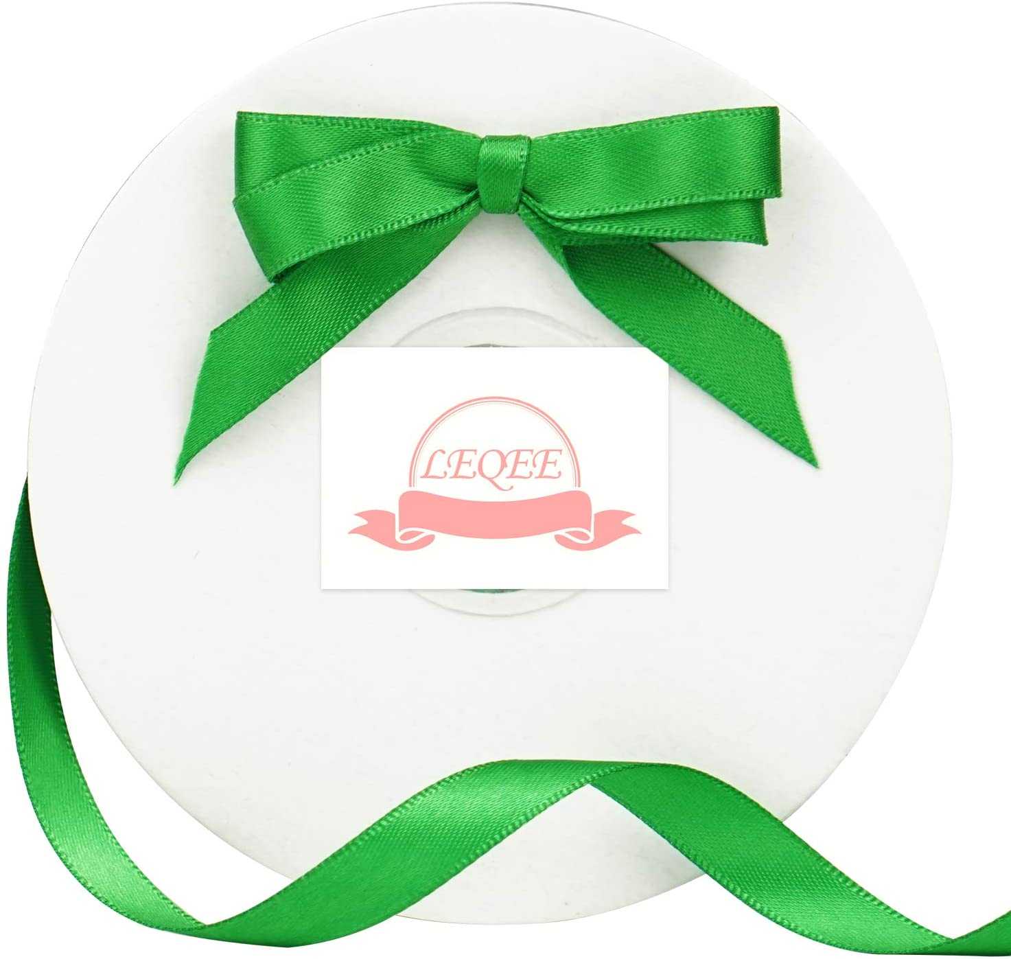 LEQEE 3/8 Inch Green Double Faced Satin Ribbon 50 Yard/Roll Variety of Colors for Crafts Hair Ribbon Bows Gift Wrapping Dancer Wand Wedding Party Cake Package and Other Projects