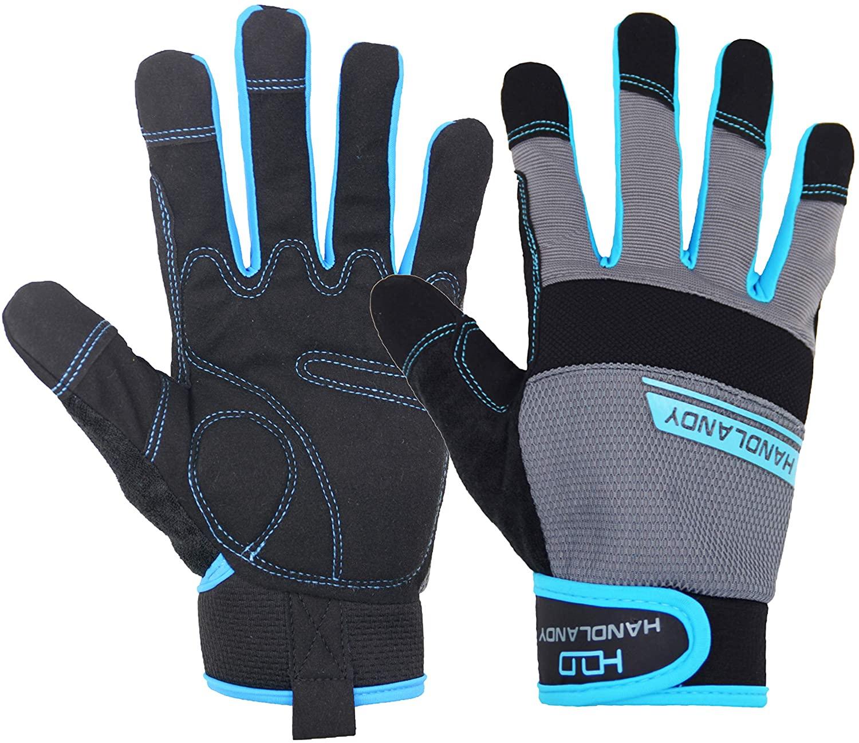 HANDLANDY Work Gloves Men & Women, Utility Mechanic Working Gloves Touch Screen, Flexible Breathable Yard Work Gloves (Medium, Grey)