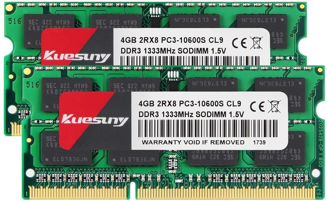 KUESUNY 8GB Kit (2x4GB) DDR3 1333MHz SODIMM PC3-10600 RAM for Apple MacBook Pro (Early/Late 2011), iMac (Mid 2010, Mid/Late 2011), Mac Mini (Mid 2011)