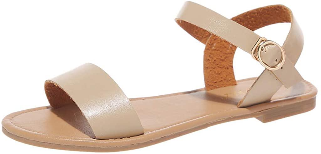 Aniywn Open Toe Casual Ankle Strap Sandals Women's Summer Low Heel Non-Slip Flat Open Toe Sandals Shoes