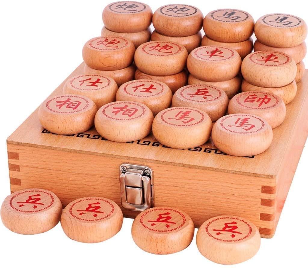 LI&muzi Adult Wood Chinese Chess Solid Wood with Chess Board Wooden Three-Dimensional Chess Board Chinese Chess Set,L