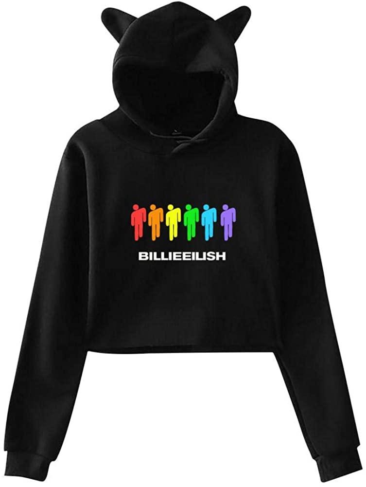 Casual Billie Bellyache Eilish Cat Crop Sweatshirts for Women/Girls Hoodies with Ears Hoody Hooded Blouse Top