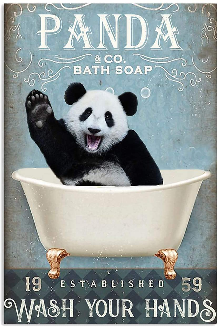 Panda Co. Bath Soap Wash Your Hand Funny Vertical Poster Canvas Decor, Home Decor, Office Decor, Poster Canvas Decor by Living Room