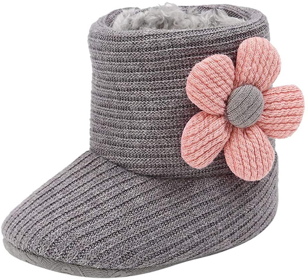 Shybuy Boy Snow Boots, Newborn Baby Cotton Knit Booties Premium Soft Sole Bow Anti-Slip Warm Winter Infant Shoes