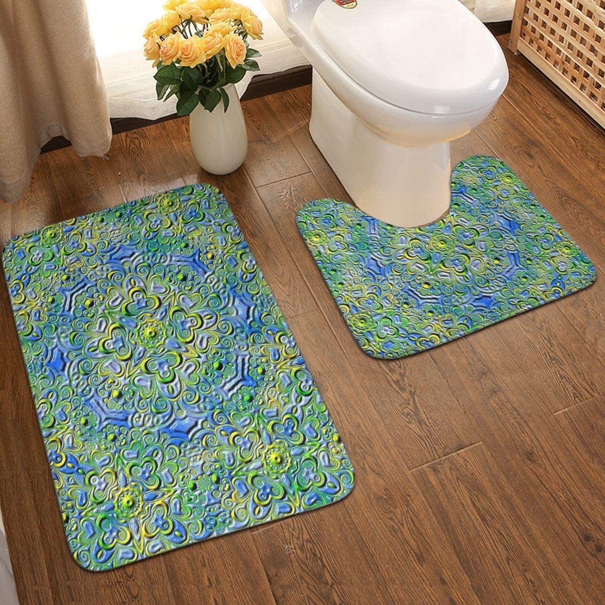 Farbenpracht Kaleidoscope Colorful Units Rainbow Green Bathroom Antiskid Pad 2 Pieces Bathroom Rugs Set Door Floors Soft Bath Mats Carpet for Tub Shower Personalized