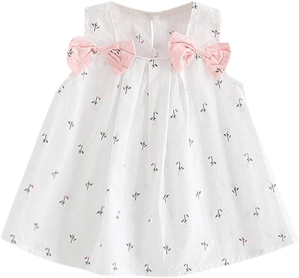 ZEFOTIM Toddler Kid Baby Girls Solid Bow Print Floral Suspender Princess Party Dress 6-24M 2-3Y