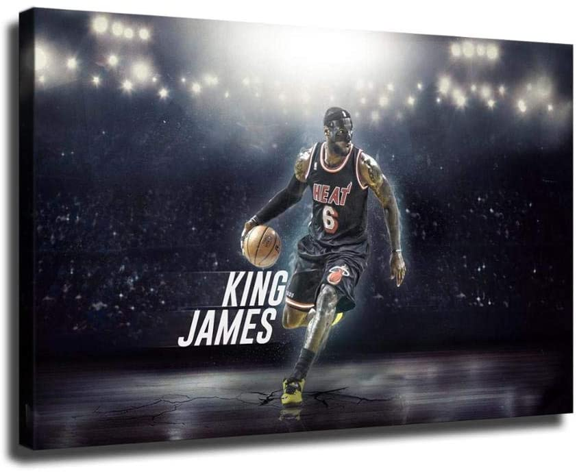 Basketball Superstar Lebron James Wearing a high-Definition mask to Play Ball Print Canvas Oil Painting Mural Family Living Room Bedroom Office Oil Painting Party Decoration