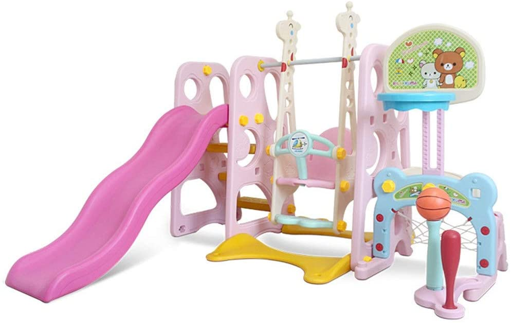 Rnwen Slide Three-in-one Slide Indoor Toddler Play Family Slide Playground Ideal Gift for Boys and Girls Recommended for Children Ages 1-10 Play & Swing Sets (Color : Pink, Size : 162x175x109cm)