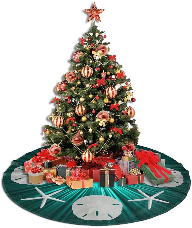 WEREWTR Teal Tropical Sand Dollars Christmas Tree Skirt 48