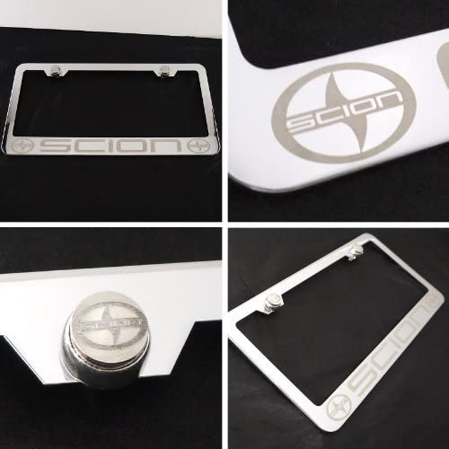 Fit Scion Laser Engraved Stainless Steel Chrome Polish License Plate Frame with Steel Engraved Logo Screw Cap Set