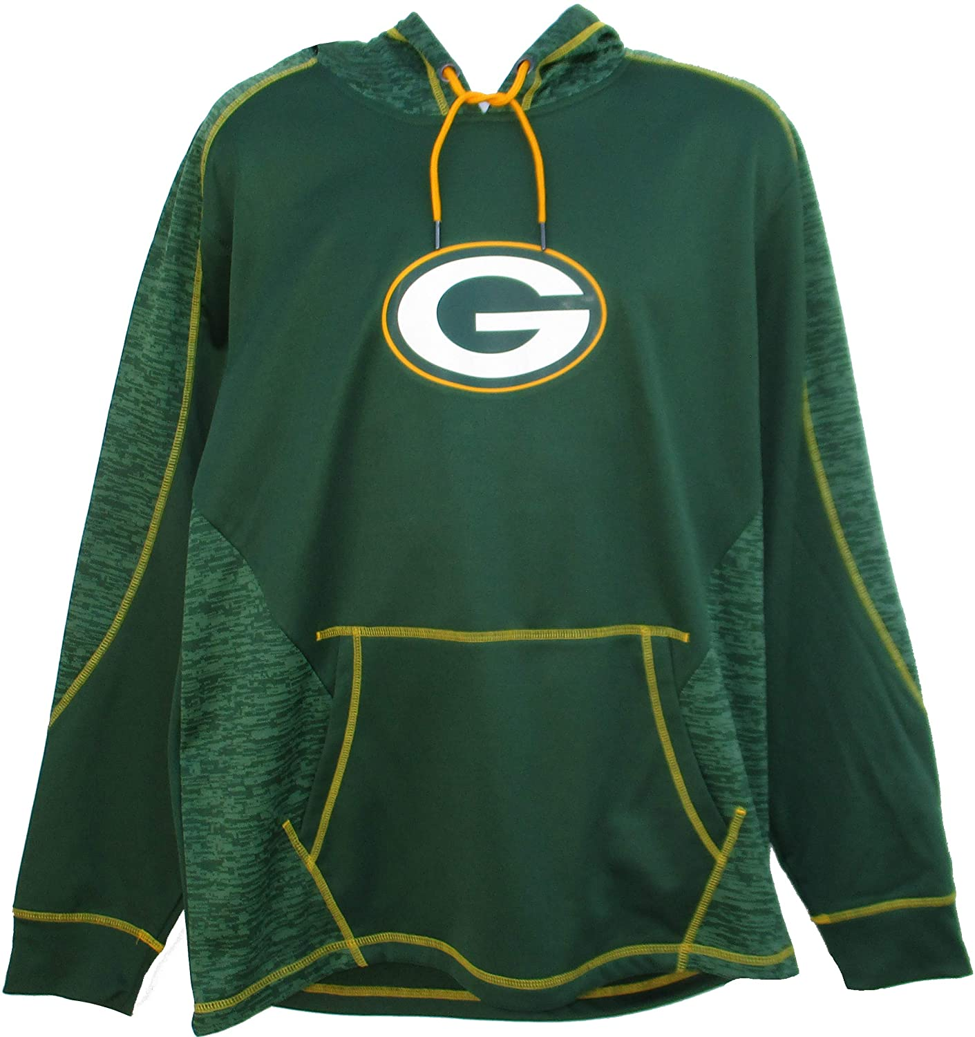 NFL Team Apparel Green Bay Packers Mens Size 2X-Large 2XL Performance Hooded Sweatshirt - Green