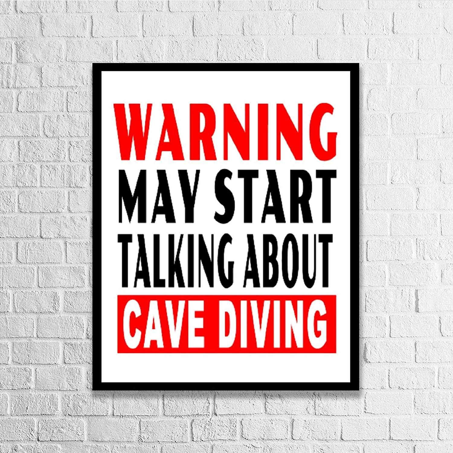 Blafitance Wood Framed Signs Warning May Start Talking About Cave Diving Wooden Plaque Wall Art Posters Home Décor for Living Room Thanksgiving Christams Gifts 16x20