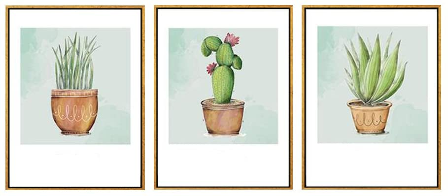 wjkjart Framed Wall Decor Botantical Catcus Art Prints On Pots Green Wall Art on Golden Floating Frame Poster For Home And Office Decoration Ready to Hang Set of 3PCS