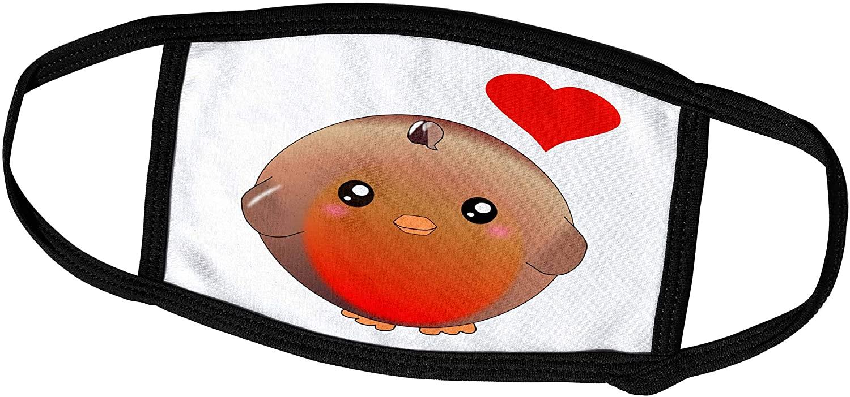 3dRose Cute Robin red Breast Bird with Love Heart - Kawaii Anime. - Face Covers (fc_112903_3)