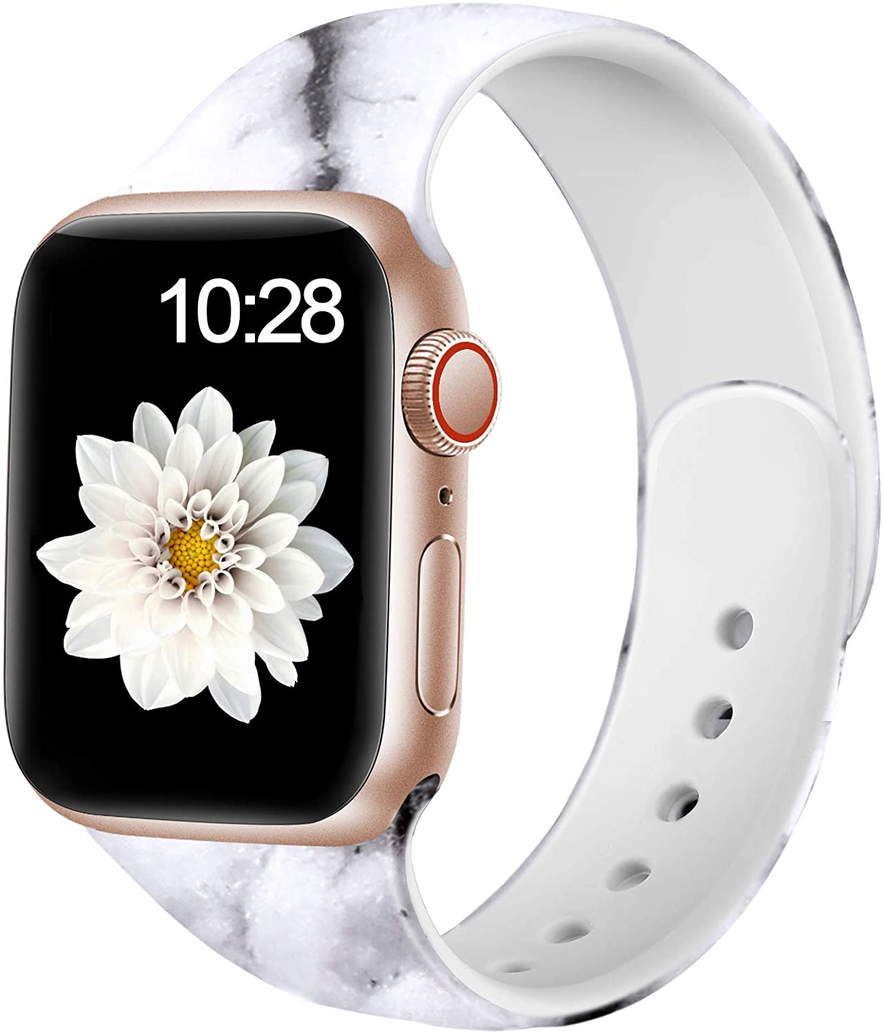 Adorve Floral Bands Compatible with Apple Watch Band 42mm 44mm iWatch SE & Series 6 & Series 5 4 3 2 1 for Women Men, White Marble S/M