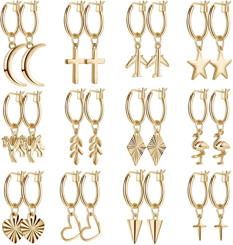 12 Pairs Gold Charm Earrings Huggie Hoop Earrings Dangle Hinged Hoop Cuff Earrings for Women Girls
