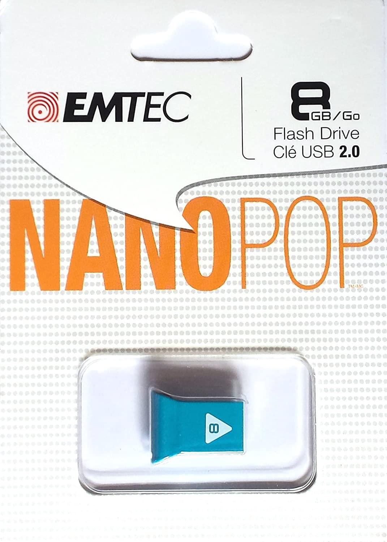 EMTEC Nano Pop 8 GB Flash Drive, Blue