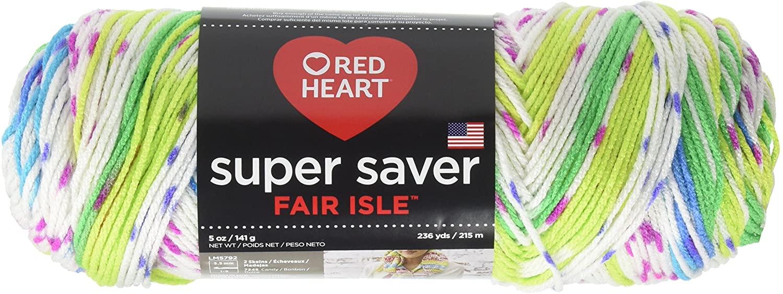 RED HEART E300F.7255 Super Saver Fair Isle Yarn, Parrot, Parrott