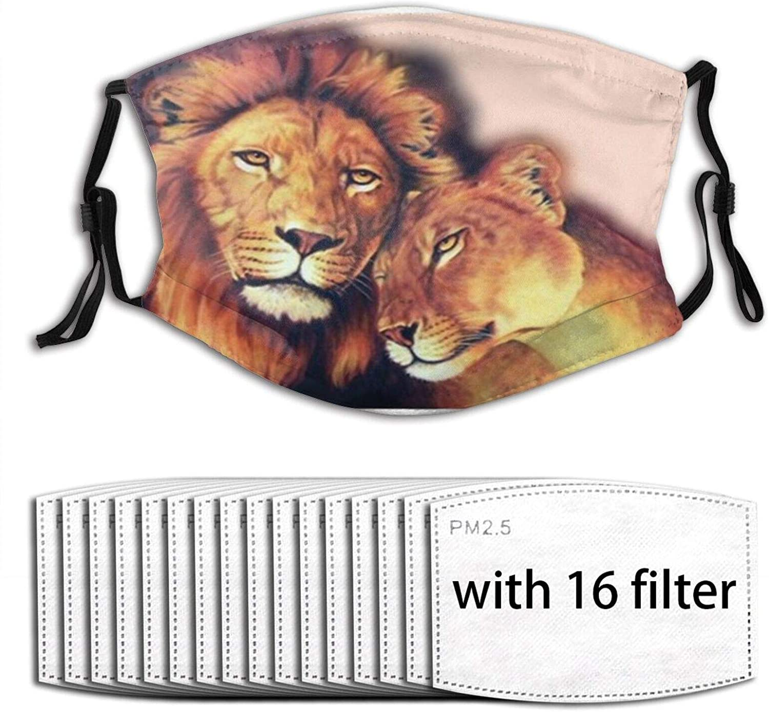 Cool Animal&Lions Painting - Soulmates Double Layer Unisex Adjustable Ear Loops Face Mouth Covering Washable with 16 Filters