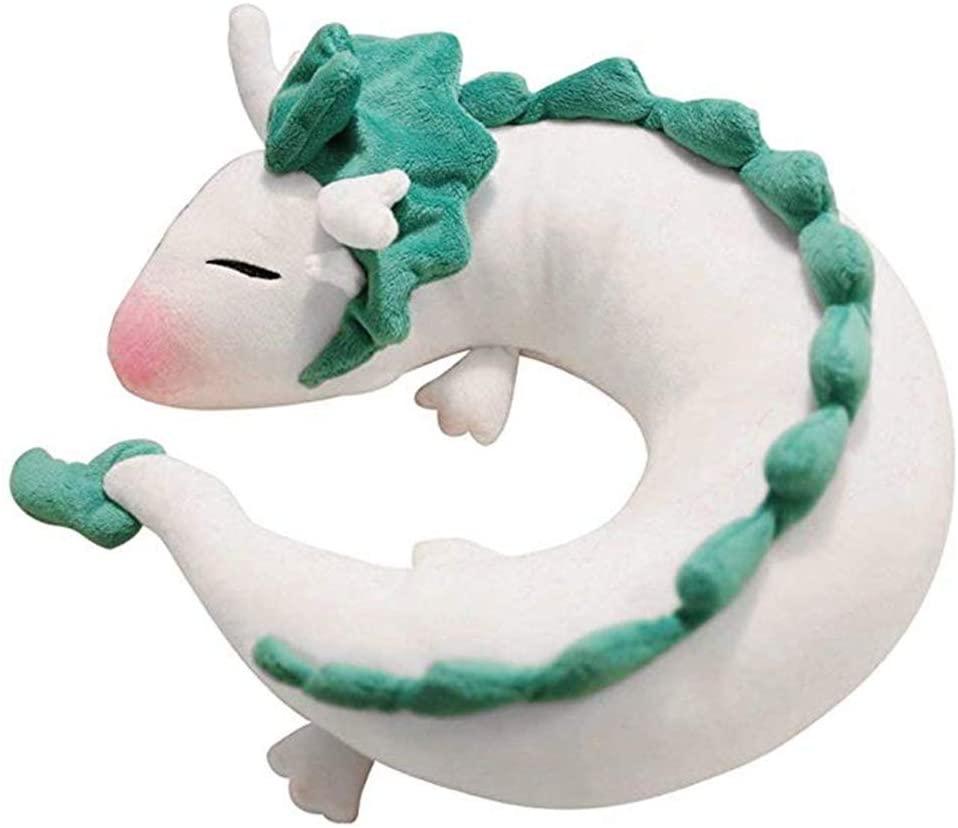 Ailancos Anime Cute White Dragon Neck Pillow U-Shaped Travel Pillow Stuffed Doll