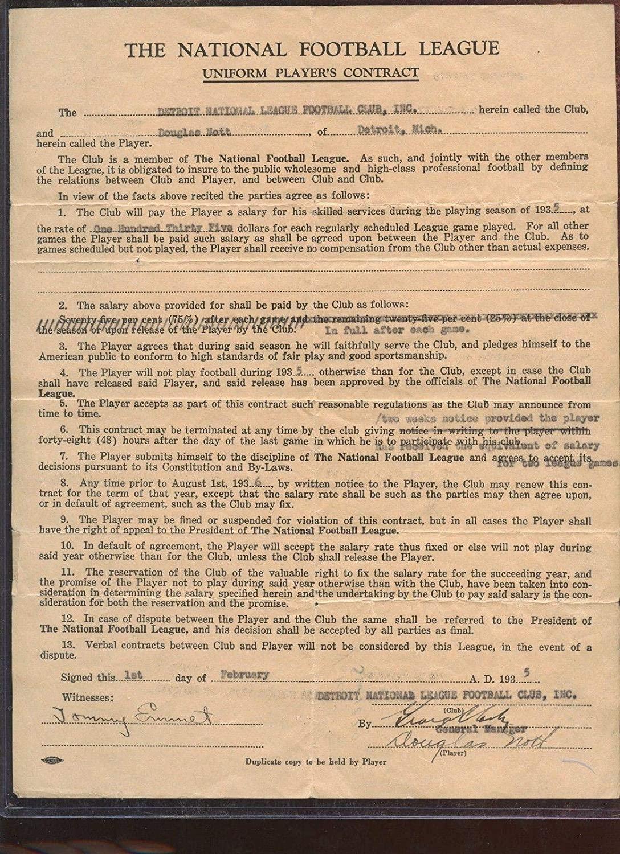 Original 1935 NFL Player Contract Detroit Lions Doug Nott - NFL Unsigned Miscellaneous
