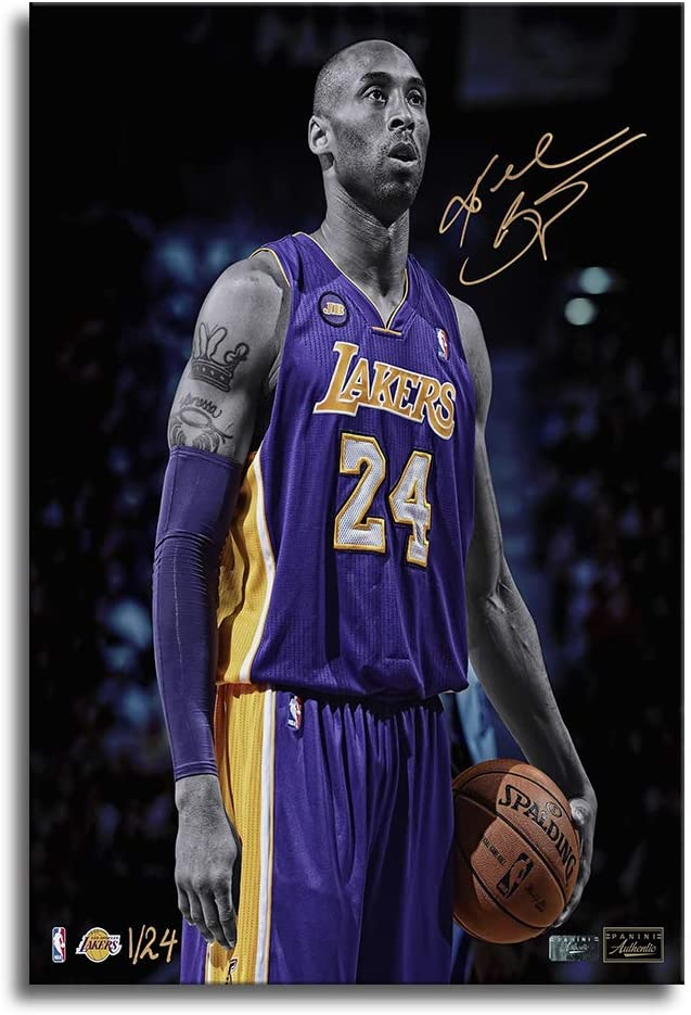 Kobe Bryant Poster with Frame Wall Decor Canvas Art Prints Pictures Vertical Painting Framed Ready to Hang(16''Wx24''H)
