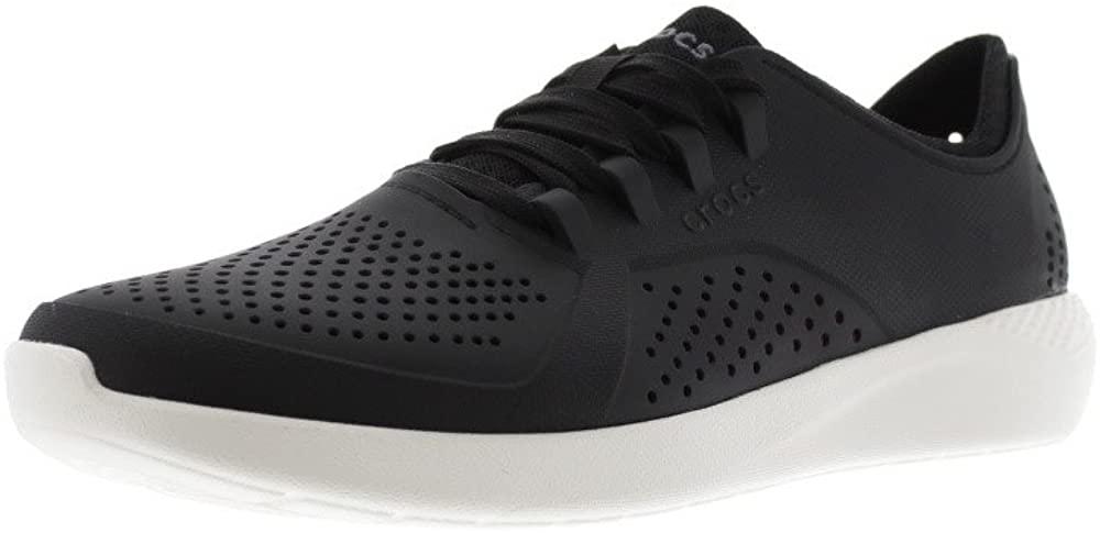 Crocs Men's LiteRide Pacer Sneaker, Black/White, 9 M US