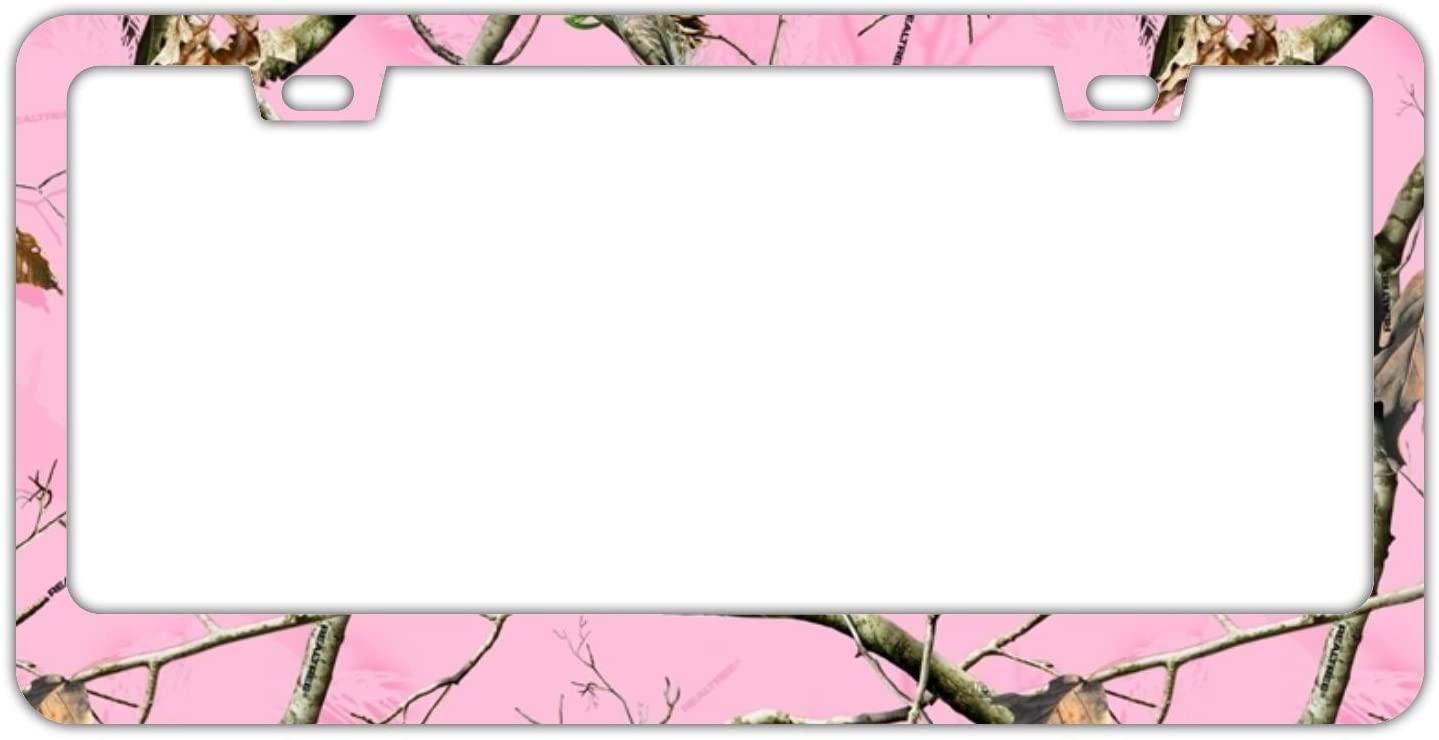 WHXSSJ Pink Realtree Camo License Plate Frame Premium Alumina Metal, Includes Screw Caps - 2 Holes