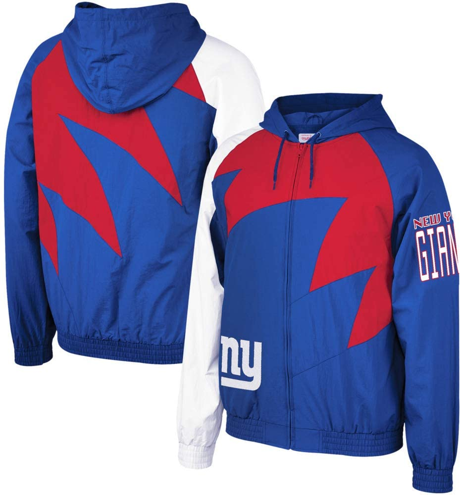 Mitchell & Ness New NY Giants Shark Tooth Full-Zip Jacket Royal/Red Size XL