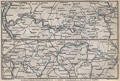 LAHNTAL VALLEY. LahnsteinKoblenz Wetzlar Limburg WeilburgBad Ems - 1889 - old map - antique map - vintage map - Germany map s