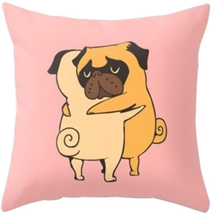 HUAhuako French Bulldog Square Throw Hug Pillow Case Cushion Cover Sofa Bed Car Office Decor 5#