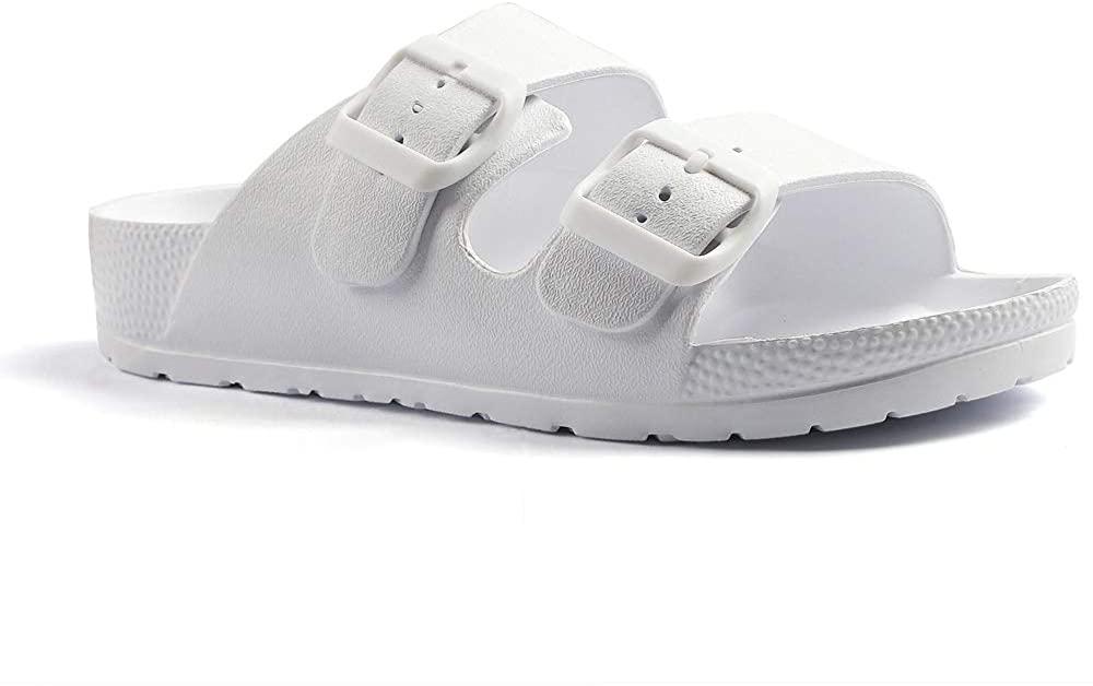 Qtdstz Women's Comfort Slides Double Buckle Adjustable EVA Flat Sandals