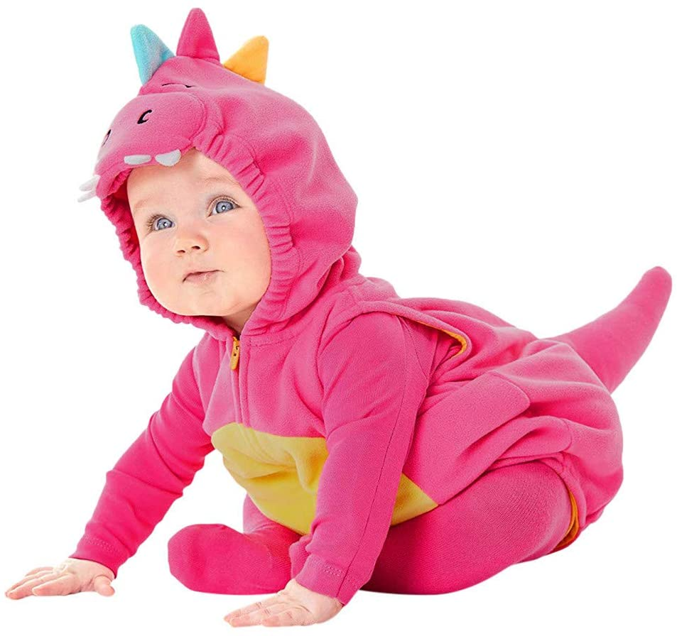 Printasaurus Coats and Jackets for 3-6 Months Baby and Kids, Infant Baby Girls Boys Cartoon Dinosaur Fleece Hoodie Romper Jumpsuit Clothes, Girls Coat&Jacket (Hot Pink 3-6 Months)