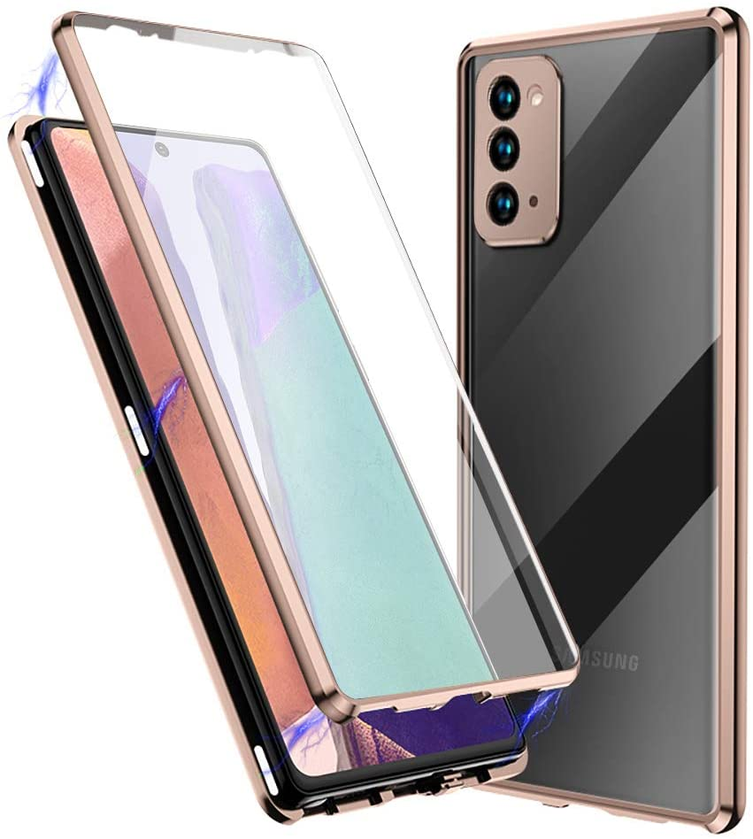 Compatible with Samsung Galaxy Note 20 Case, Jonwelsy 360 Degree Front and Back Transparent Tempered Glass Cover, Strong Magnetic Adsorption Technology Metal Bumper for Samsung Note 20 (Rose Gold)