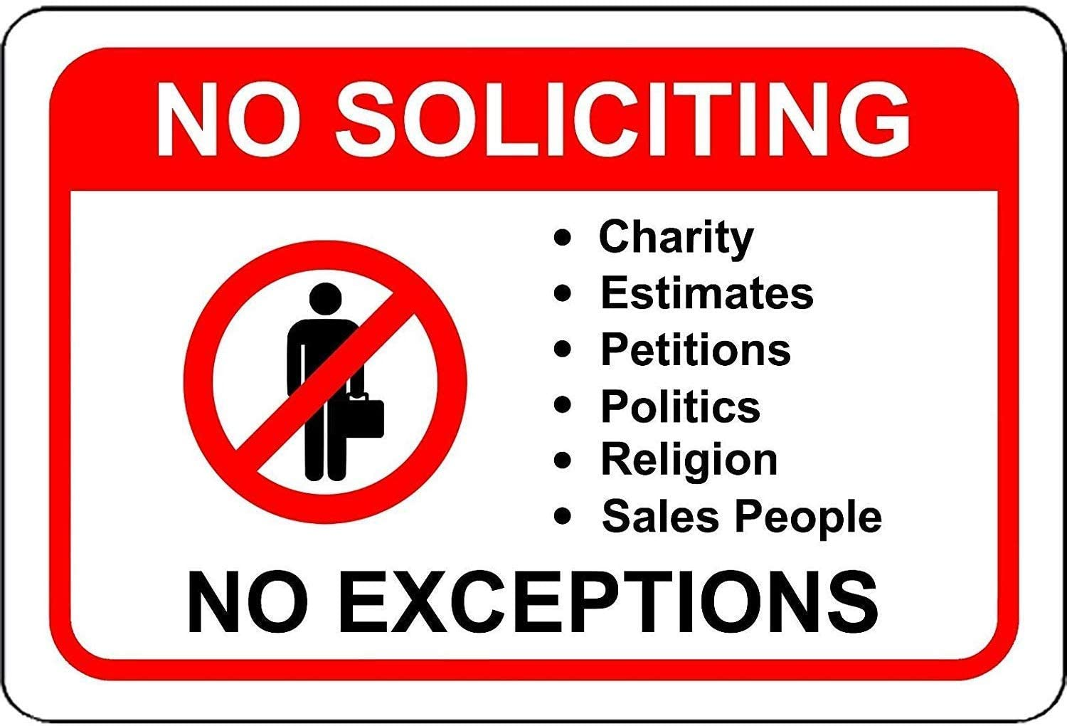 LPLED Wall Decor Sign No Soliciting No Exceptions Will NOT Rust Aluminum Metal Sign 8x12 Inches (W4087)