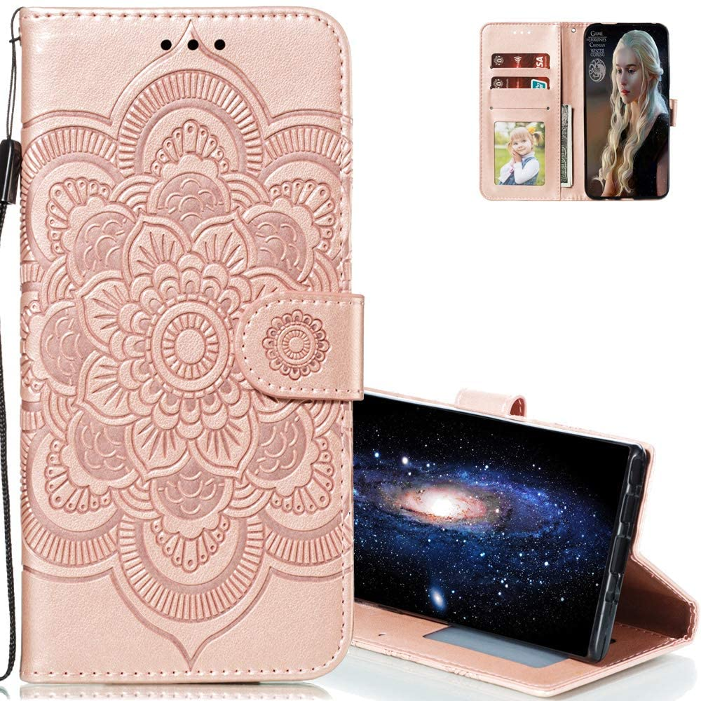 EMAXELERR Xiaomi Redmi Note 8 Case Stylish Premium PU Leather Wallet Cover Magnetic Shockproof Flip Case with Kickstand Credit Cards Slot for Redmi Note 8 Sunflower Rose Gold LD