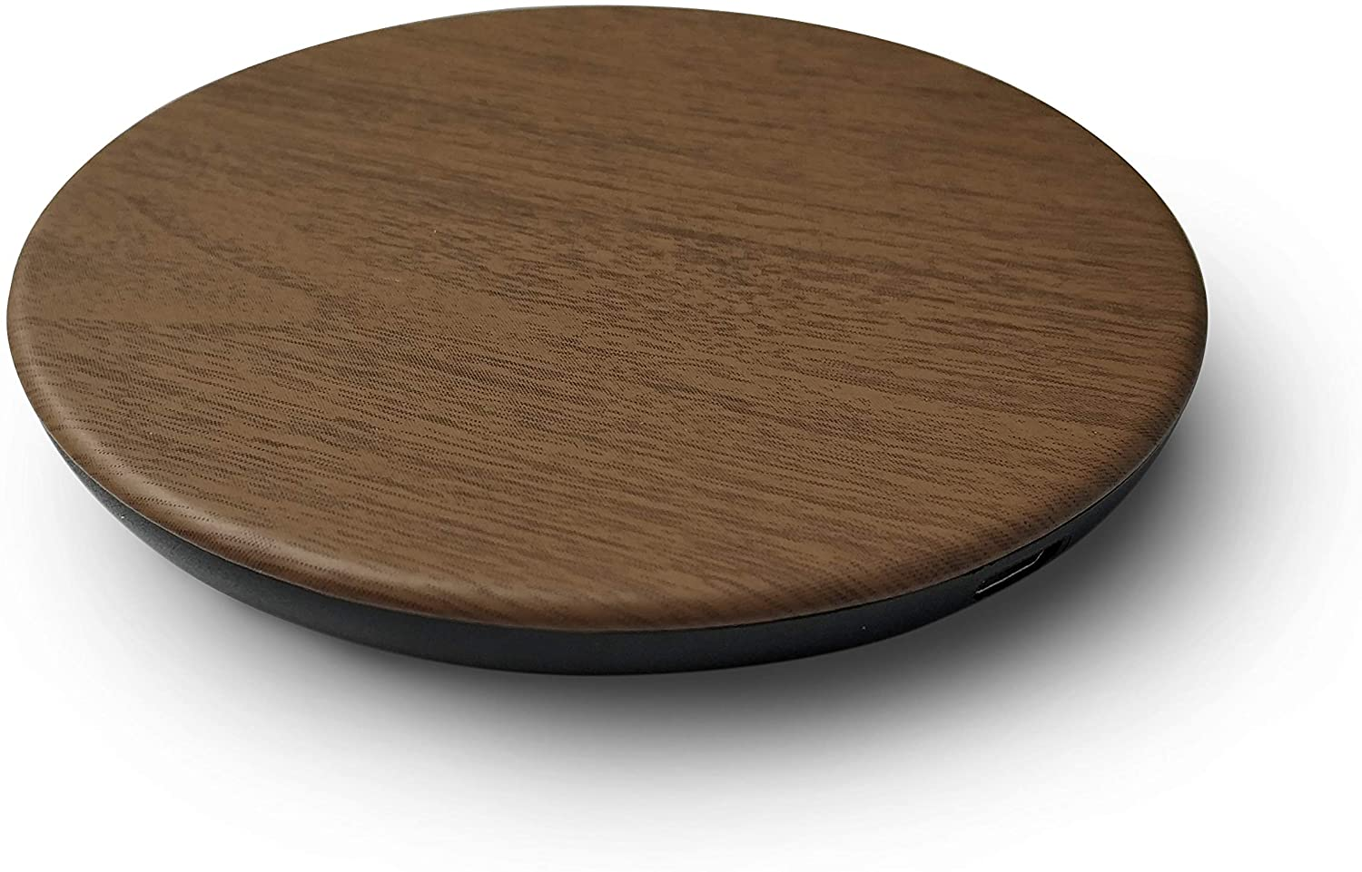 Wireless Charger Rubberized Wood Charging Pad by Reveal Shop- Qi Certified, Fast Charging- Compatible w/iPhone 11/11Pro/XS Max/XR/XS/X/8/8Plus, Galaxy S6 to S10 Models (No AC Adapter, Cable Included)
