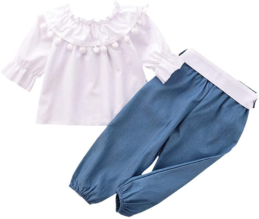 Teblacker Baby Girl 2pcs Outfit Sets Long Sleeve Tassels Top Long Jeans Pant Set Cute Suits