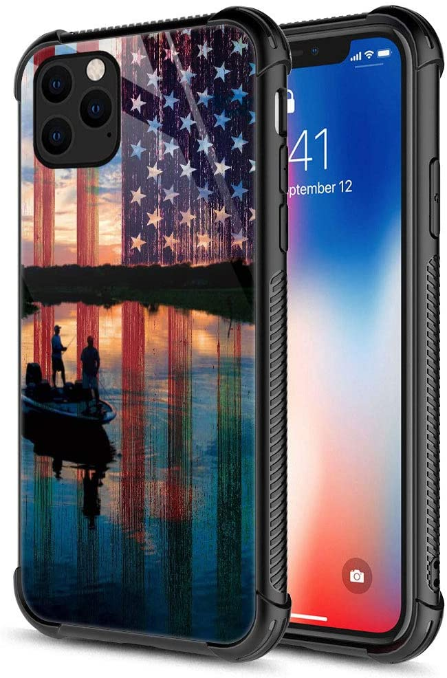 iPhone 11 Pro Max Case,Fishing Red USA Flag iPhone 11 Pro Max Cases for Girls Women,Fashion Graphic Design Shockproof Anti-Scratch Drop Protection Case for Apple iPhone 11 Pro Max