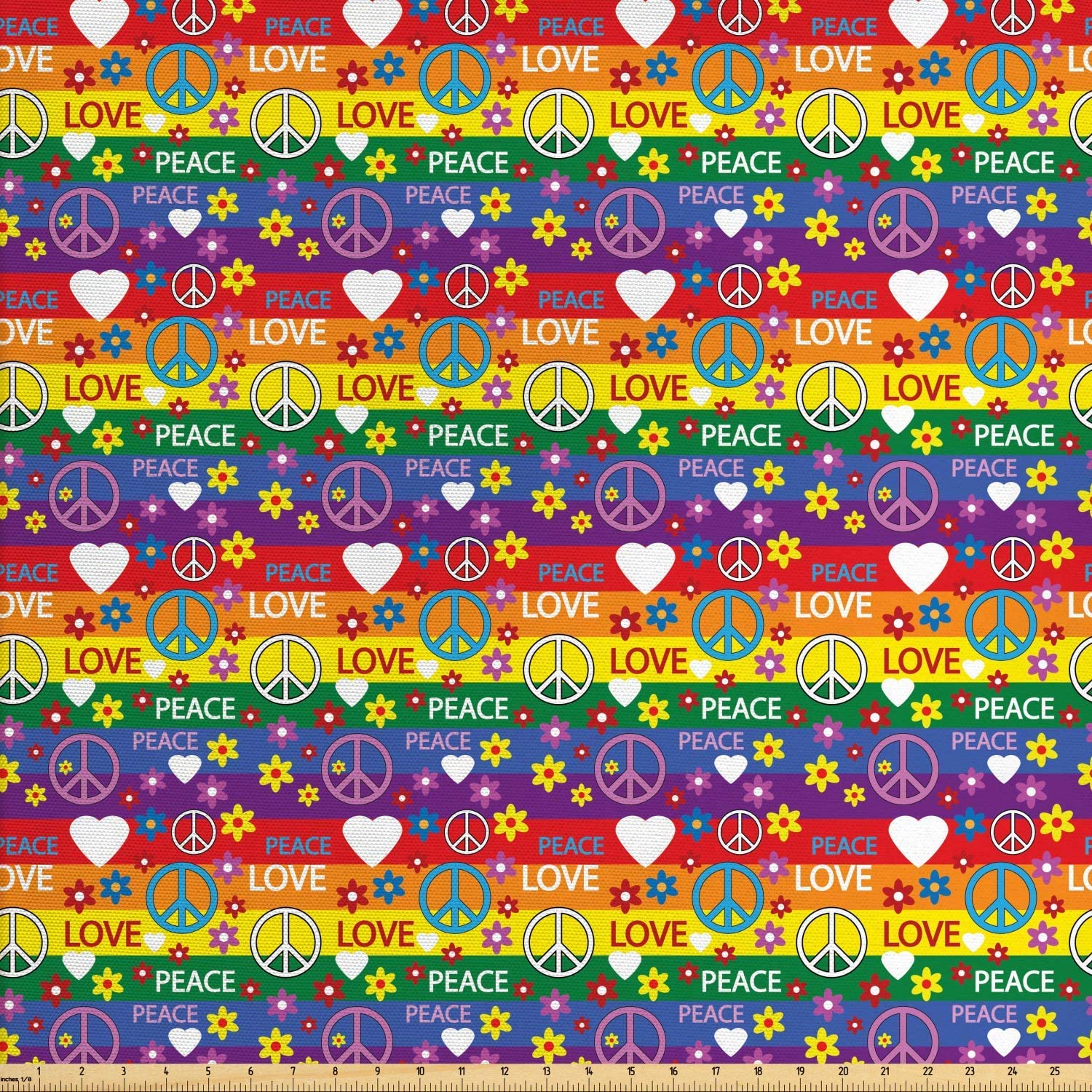 Ambesonne Groovy Fabric by The Yard, Heart Peace Flower Power Political Hippie Cheerful Colors Festival Joyful, Decorative Fabric for Upholstery and Home Accents, 2 Yards, Rainbow Colors
